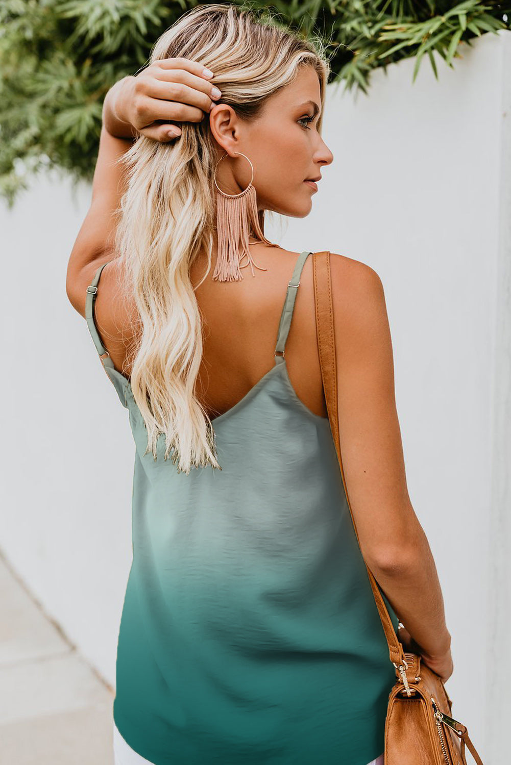 Green Ombre Button Down V Neck Strappy Tank Top