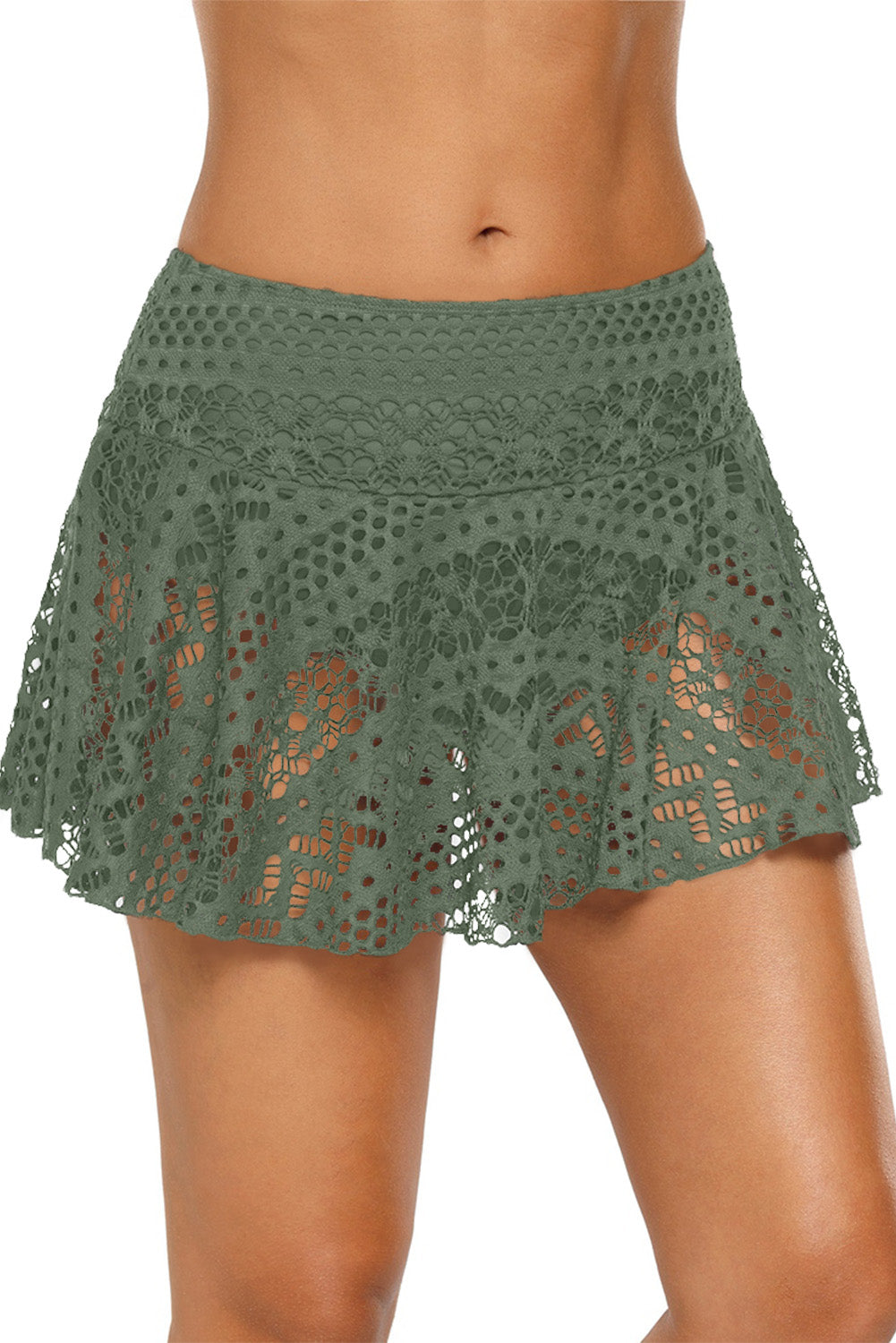Army Green Crochet Lace Skirted Bikini Bottom