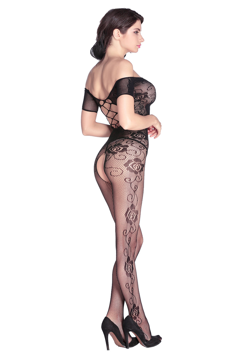 Open Crotch Rose Pattern Lace Body Stockings