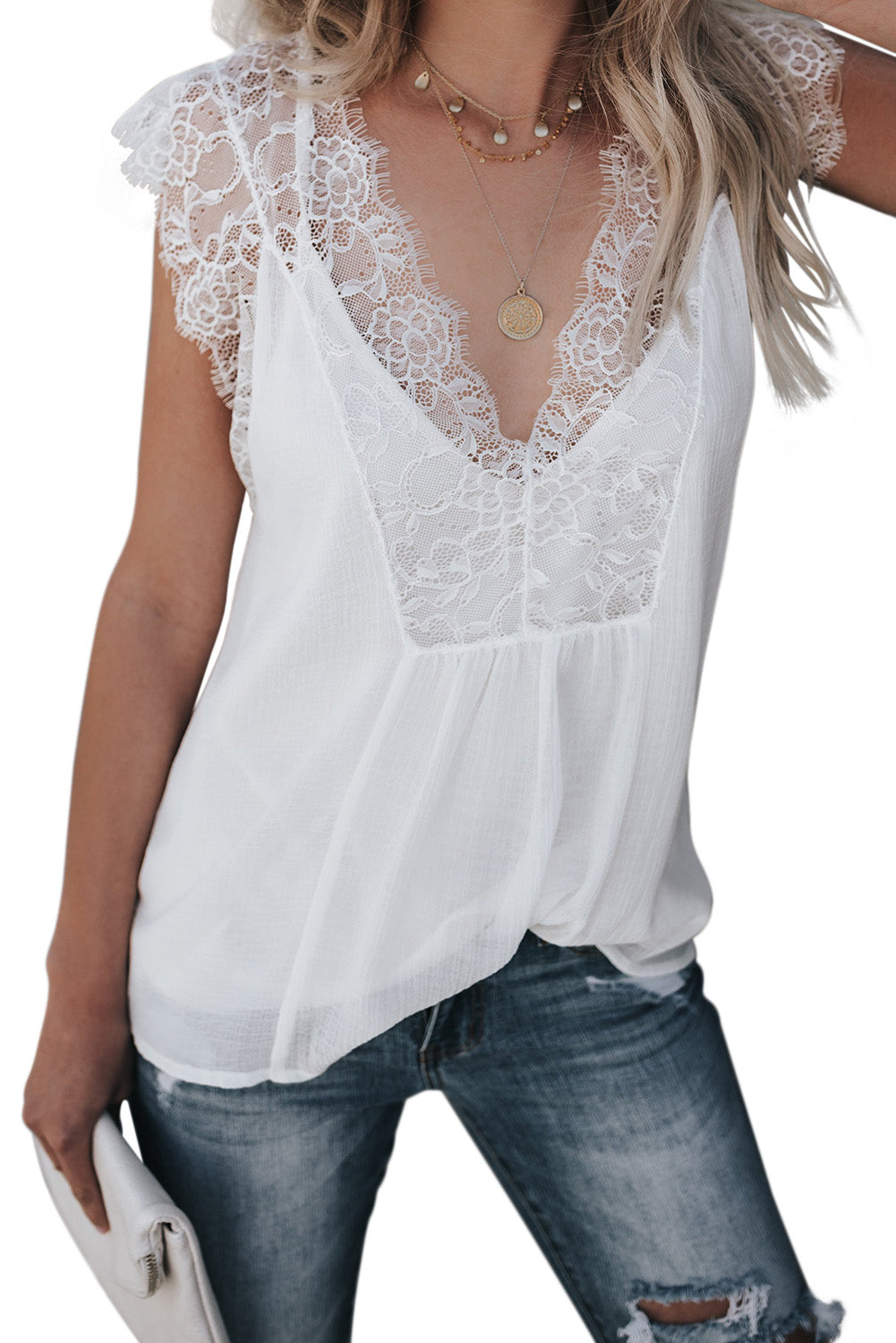 White From A Dream Lace Tank Top with Vest