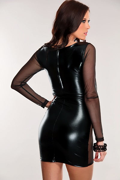 Hot Lustrous Metallic Mini Dress with Mesh Sleeves