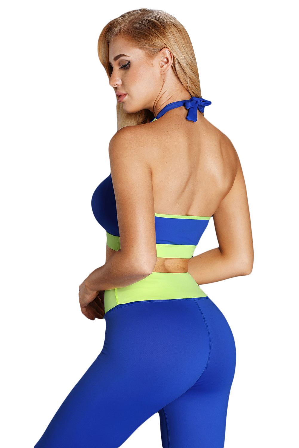 Blue Gathered Bust Halter Sport Gym Bra