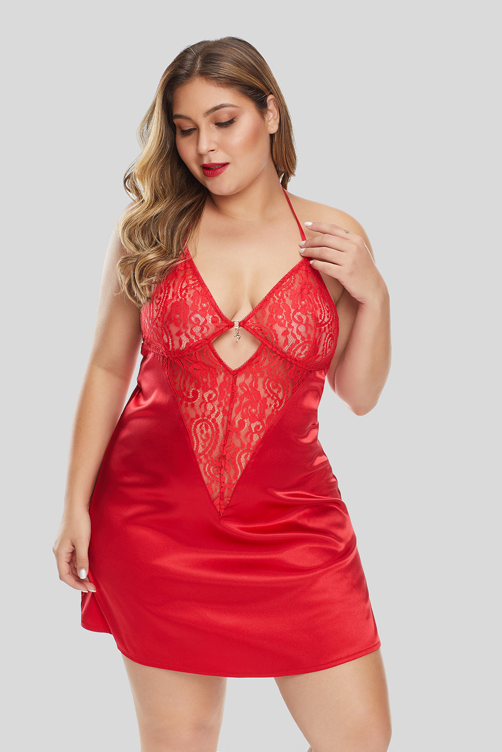 Red Lace Splicing Plus Size Babydoll