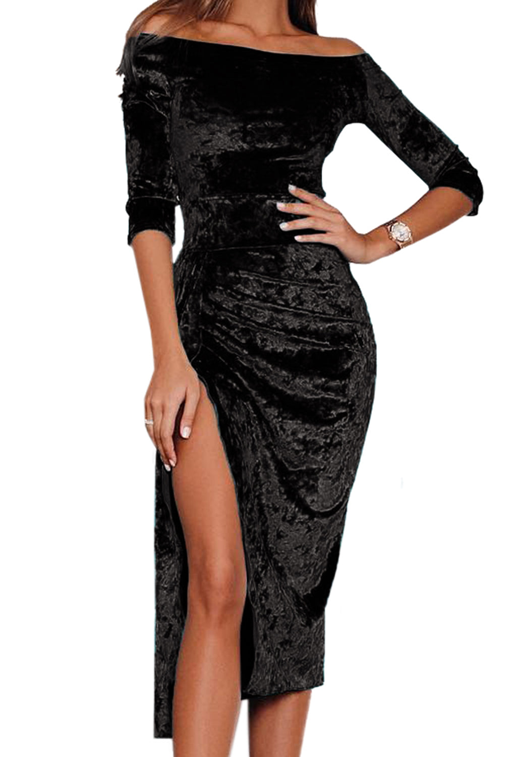 Black Velvet Off Shoulder Ruched High Slit Dress