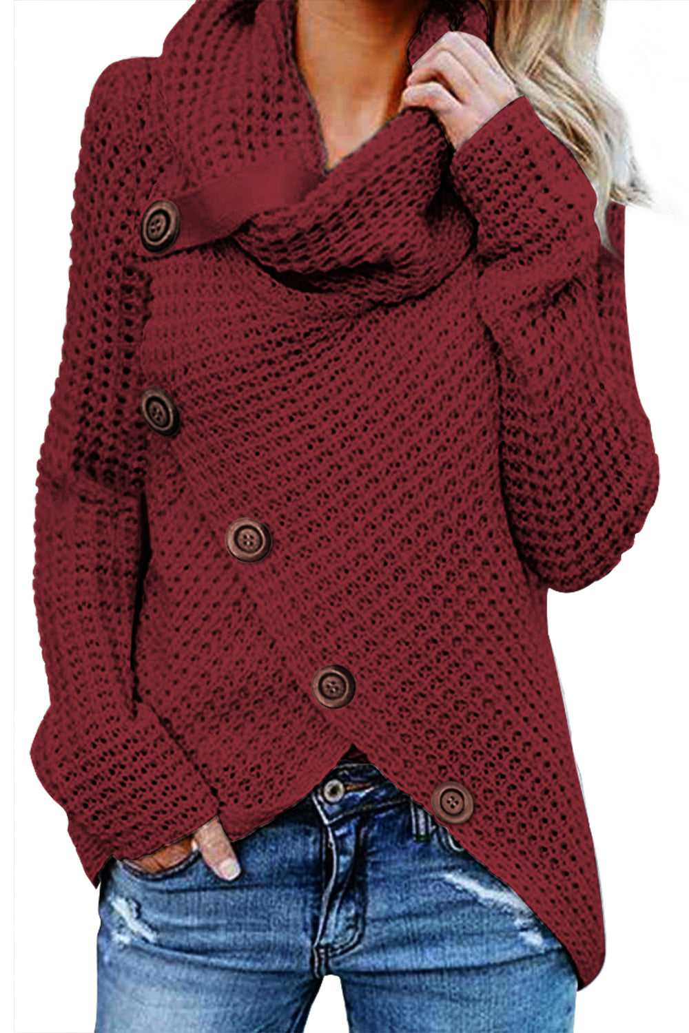 Burgundy Buttoned Wrap Turtleneck Sweater