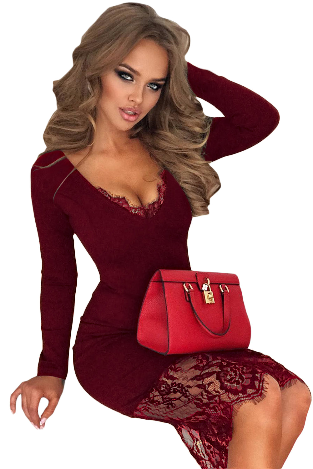 Burgundy Eyelash Lace Overlay Long Sleeve Bodycon Dress