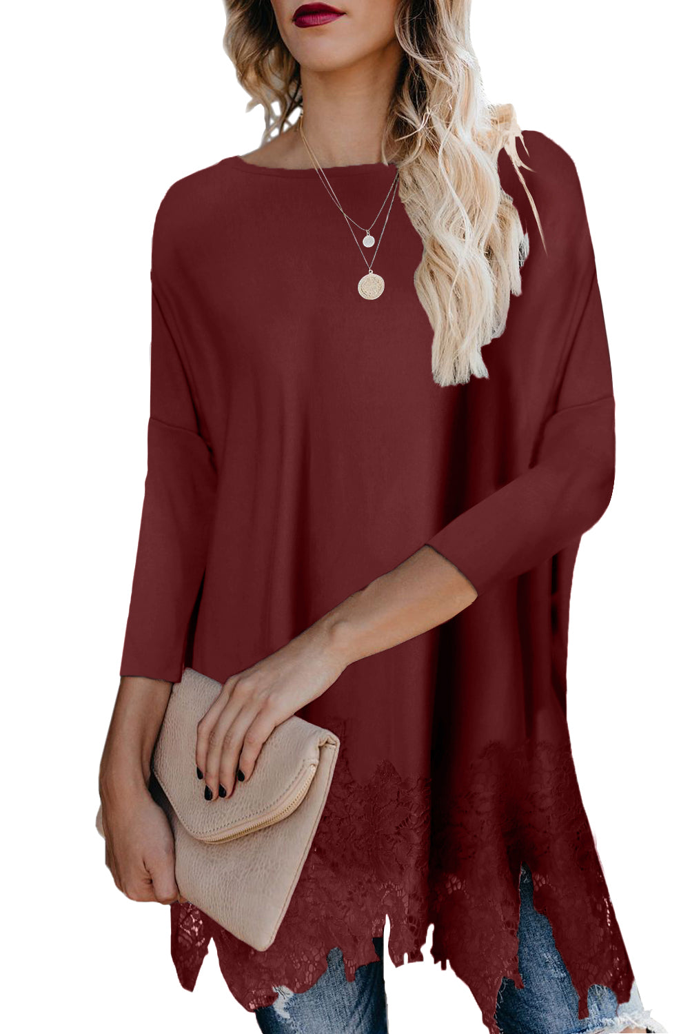 Burgundy Waldorf Lace Contrast Sweater