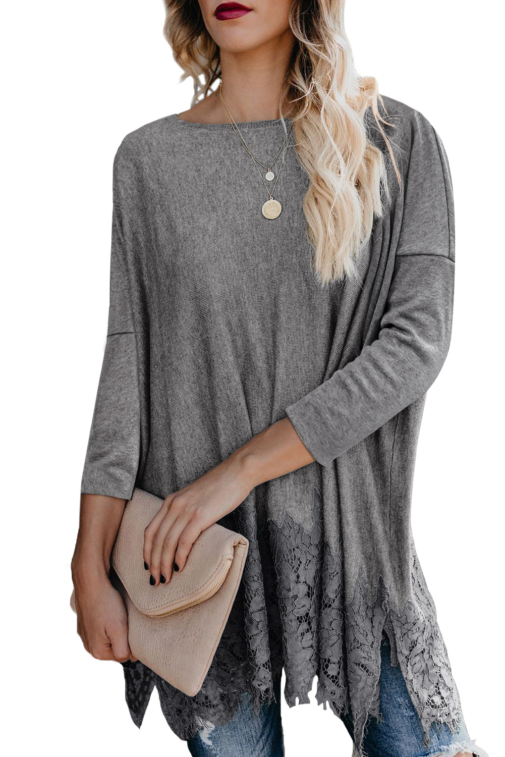 Grey Waldorf Lace Contrast Sweater