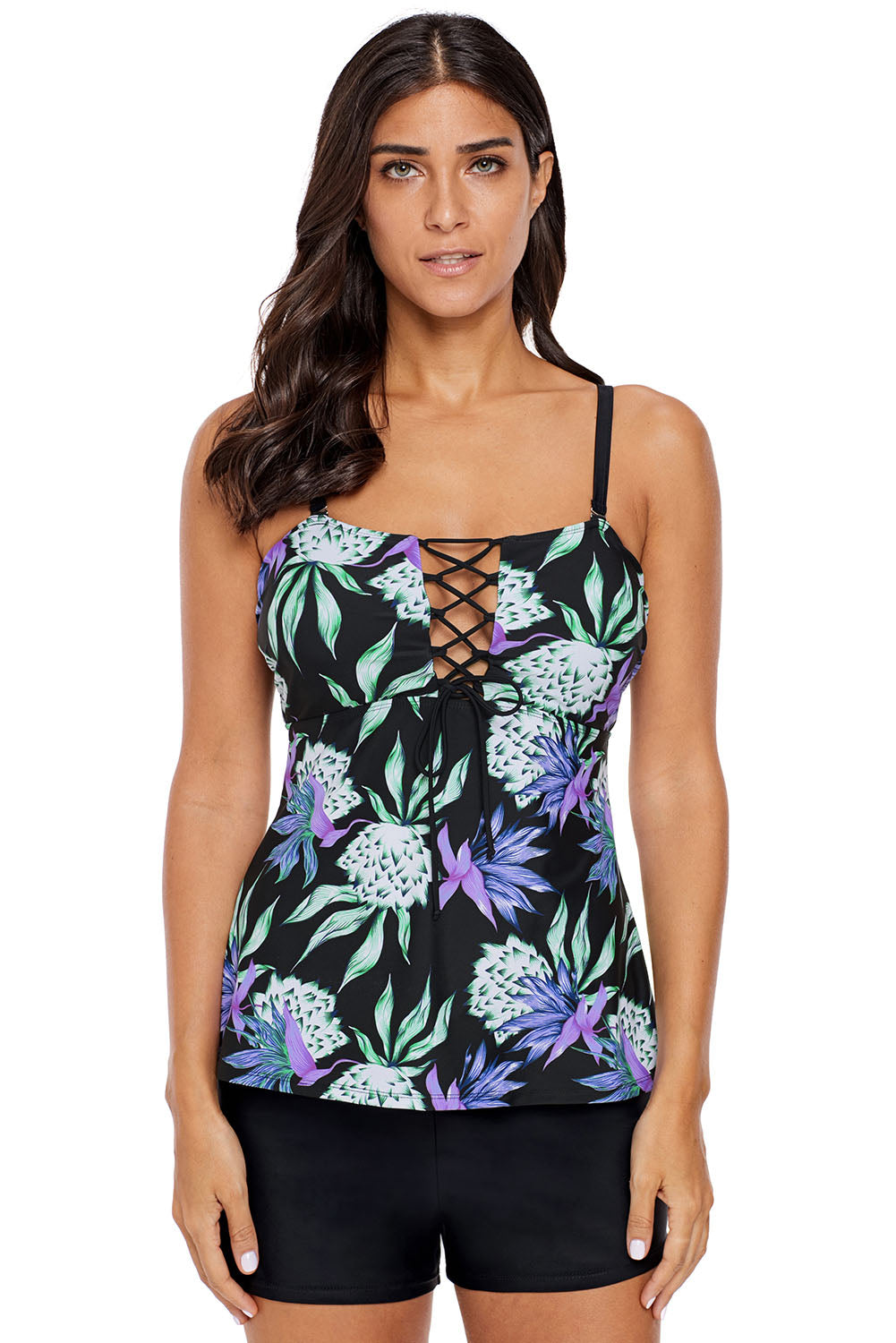 Lace Up Detail Floral Tankini Top