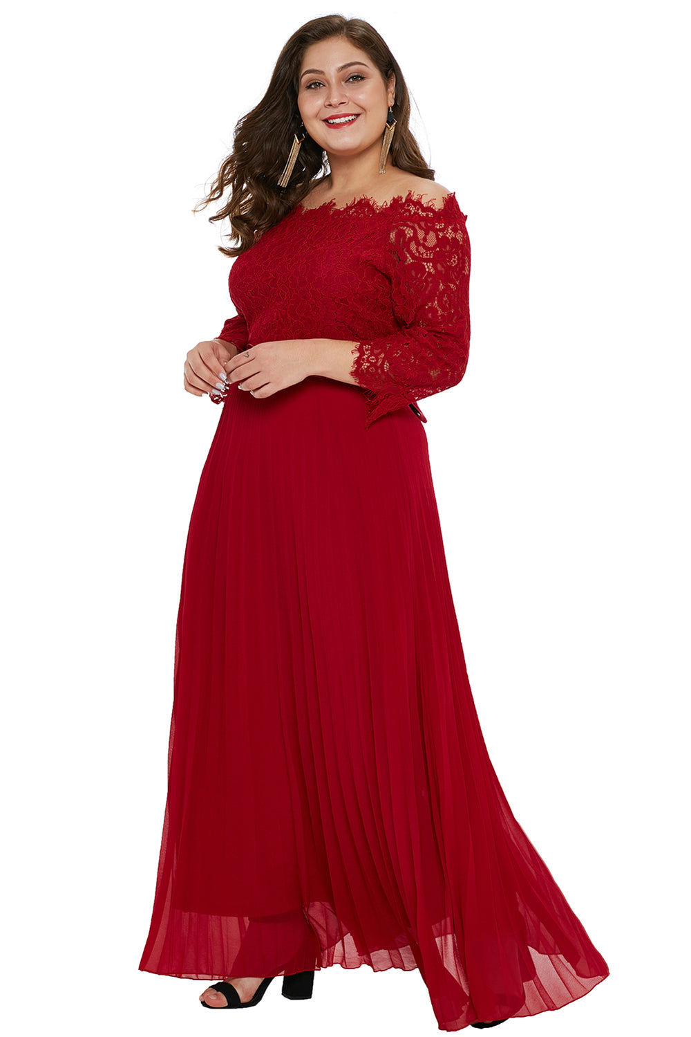 785e3e9e9666c Red Lace Chiffon Plus Size Off Shoulder Maxi Dress – FabWoo