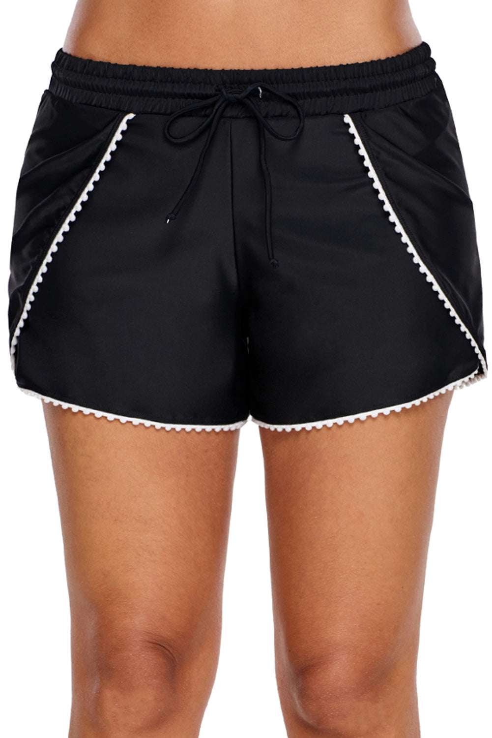 Scalloped Trim Flap Cover Black Swim Shorts