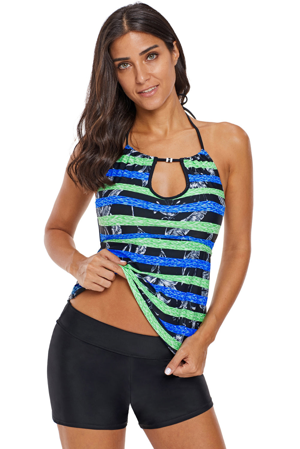 Striped Leaf Print Keyhole Halter Swim Top