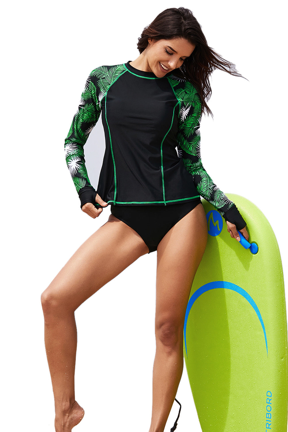Tropical Leaf Contrast Long Sleeve Rashguard