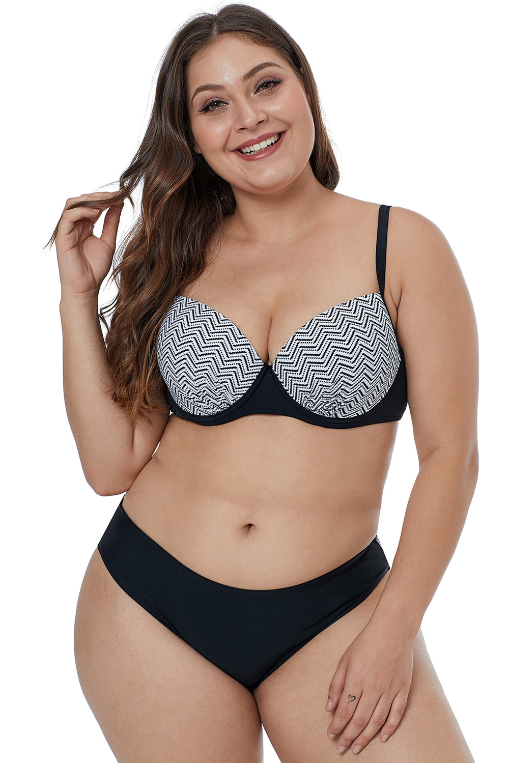 d5edd8c24 Waves Print Cups Plus Size Bikini Swimwear – FabWoo