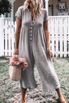 Gray Solid Short Sleeve Casual Jumpsuit