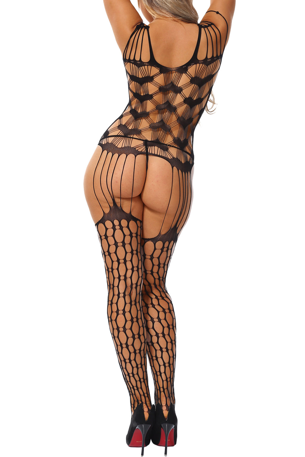 Shredded Shoulder Heart Pattern Hollow-out Bodystocking