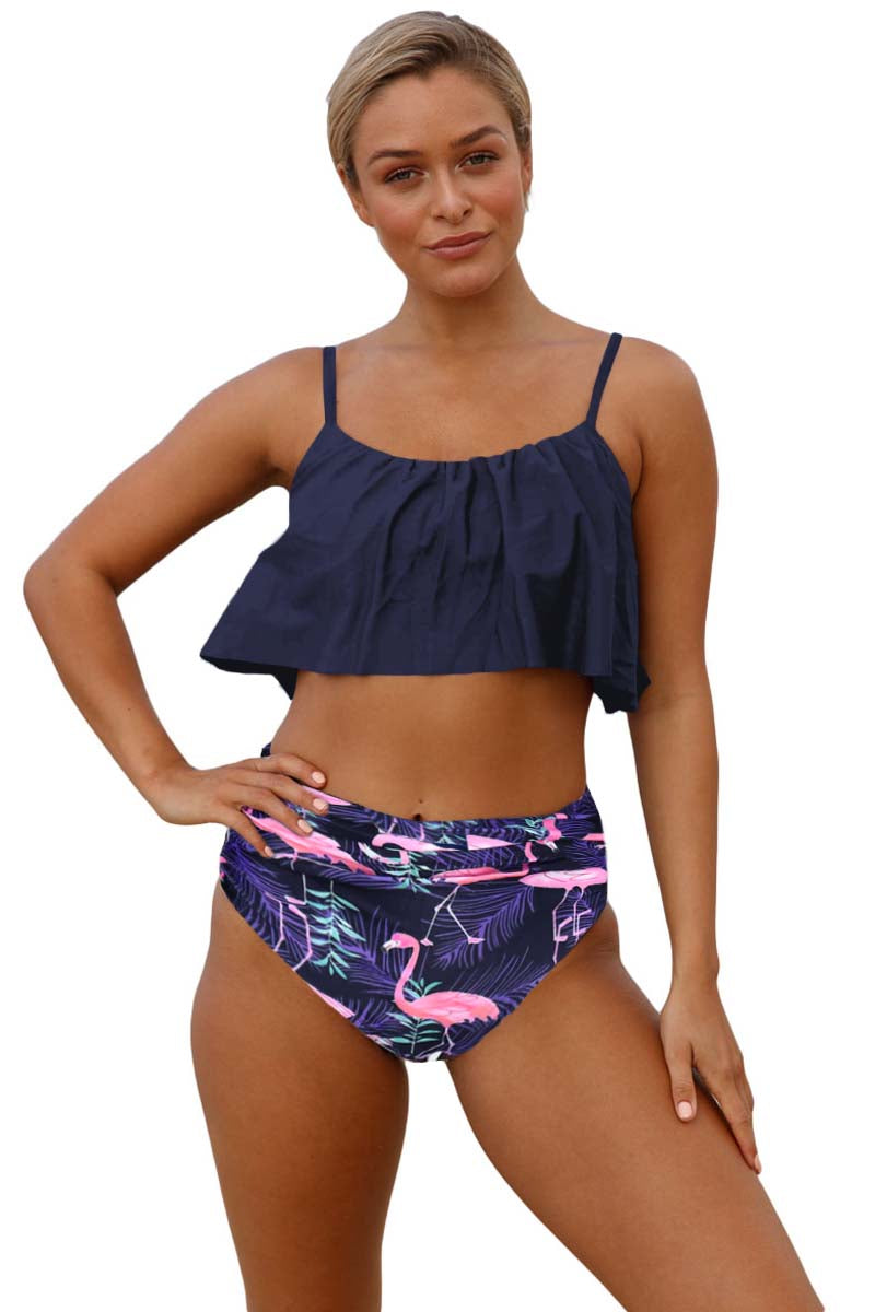 Blue Ruffle Top High Waist Bottom Bikini Swimsuit