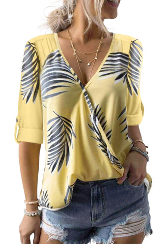 V Neck Stripes Roll up Sleeve Button Down Shirt