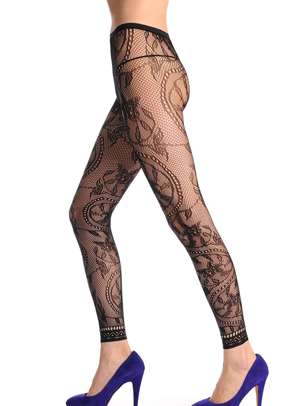 Flower Pattern High Waist Footless Lace Trim Pantyhose