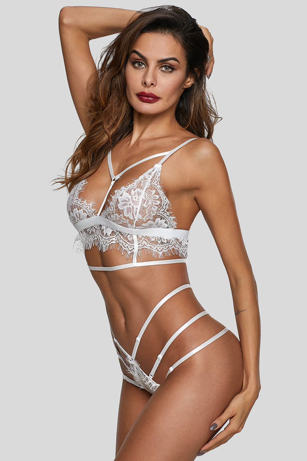 White Lace Strappy See Through Lingerie Set