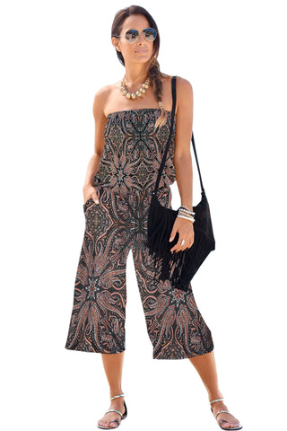 Black Tie Up Crop Top & Wide Leg Pants Set