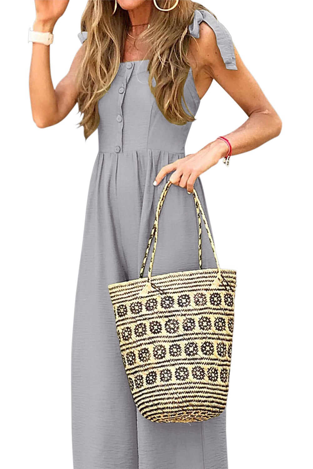 Gray Button Down Sleeveless Wide Leg Jumpsuit