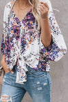 Purple Floral Printed Deep V Neck Tie Front Blouse