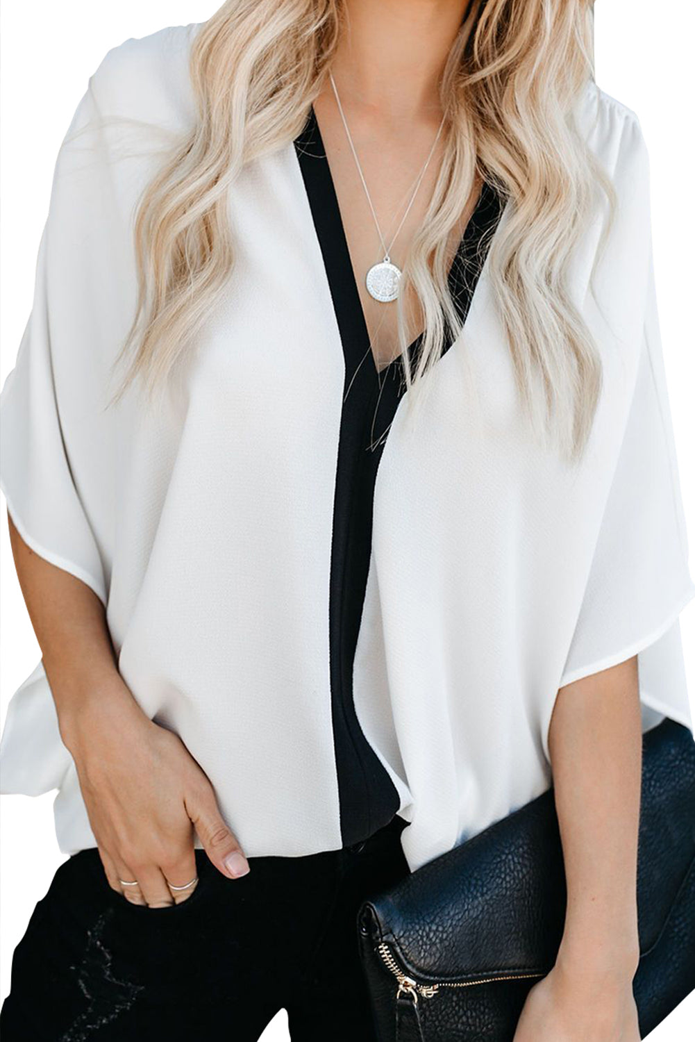 White Fashion Contrast Color V Neck Blouse