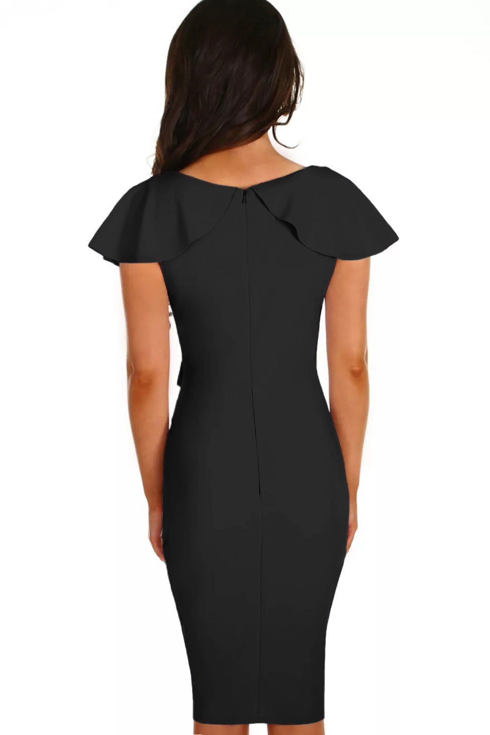 Gossip Black Frill Bodycon Sheath Dress