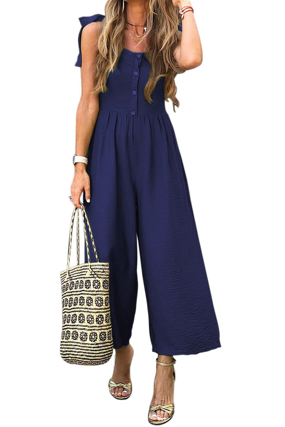Blue Button Down Sleeveless Wide Leg Jumpsuit