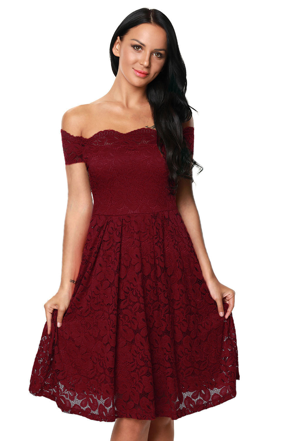 Wine Plus Size Scalloped Off Shoulder Flared Lace Dress