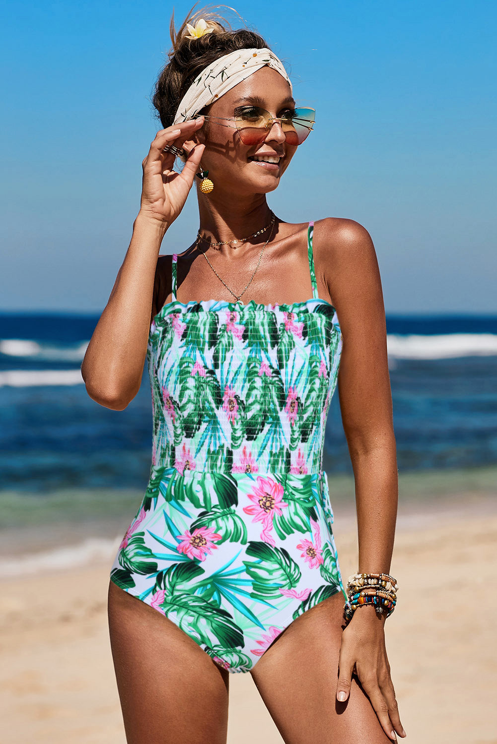 White Fashion Side Tie Flower Print One Piece Swimsuit