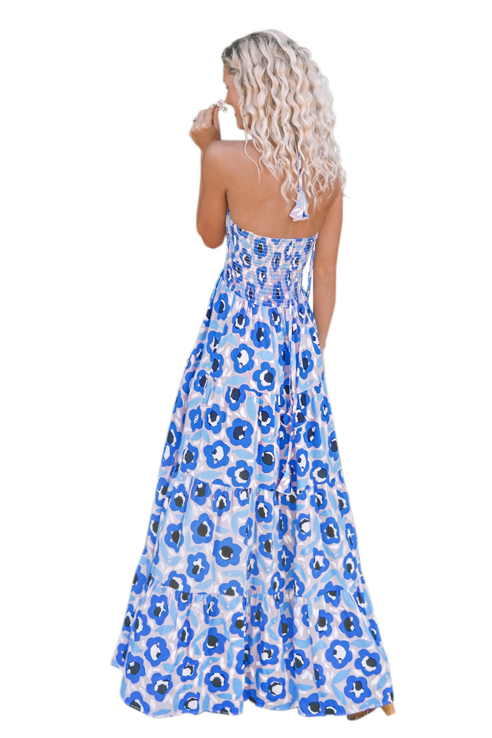 Sky Blue Summer Bohemian Printed Holiday Maxi Dress