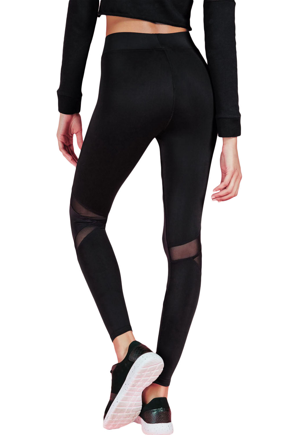 Active Mesh Panel Hoodie Tights Set in Black