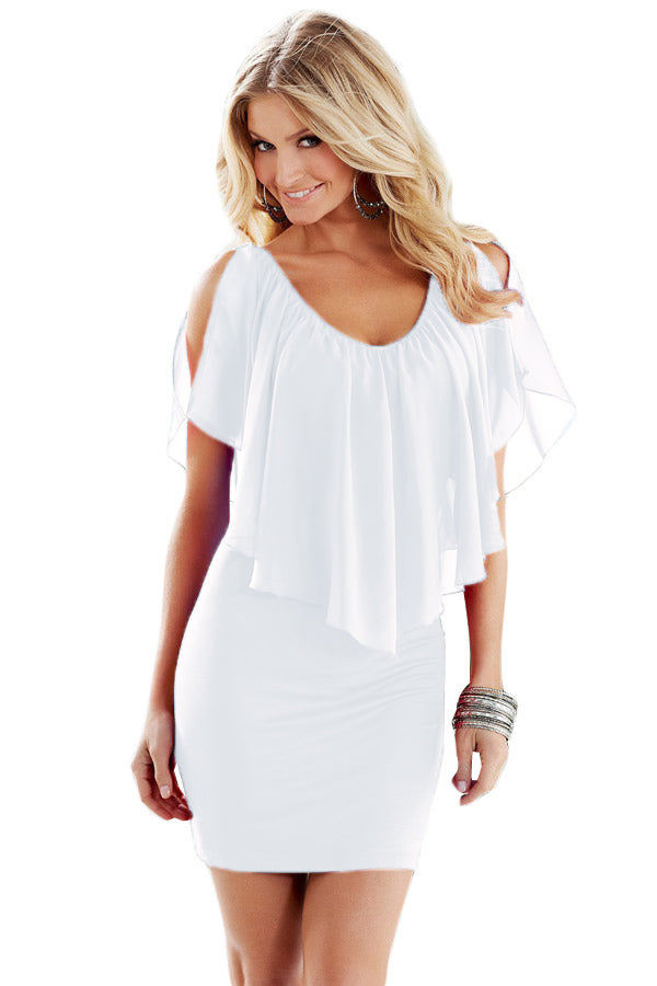 White V Neck Ruffle Overlay Slit Sleeve Bodycon Dress
