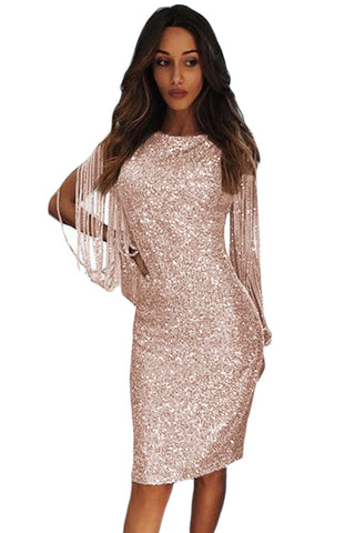Nude Sequin Fringe Sleeve Party Maxi Evening Dress