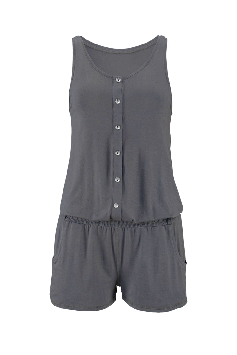 Solid Color Sleeveless Button Jumpsuit in Gray