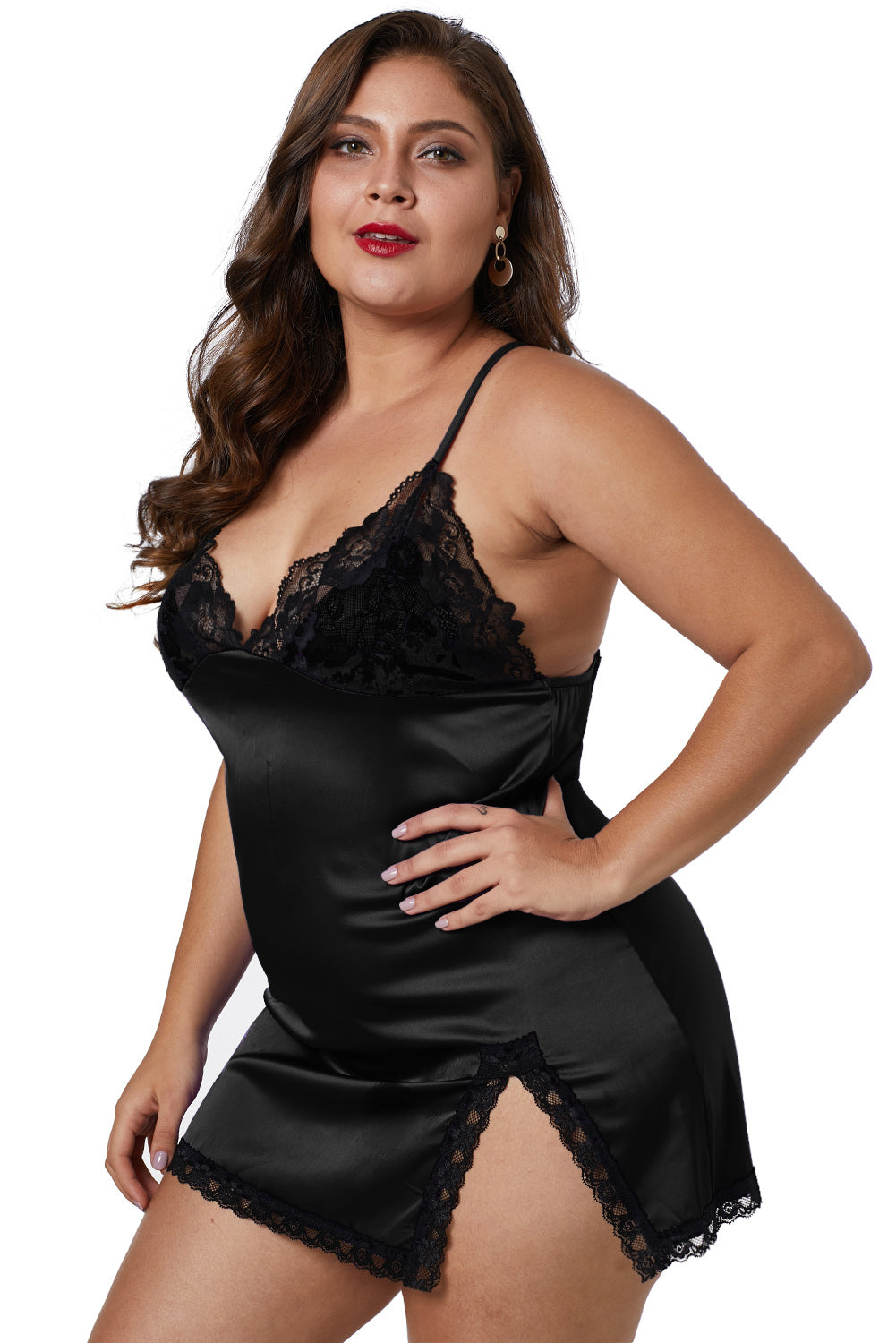 62c688cf3cb Black Plus Size Satin Chemise with Lace