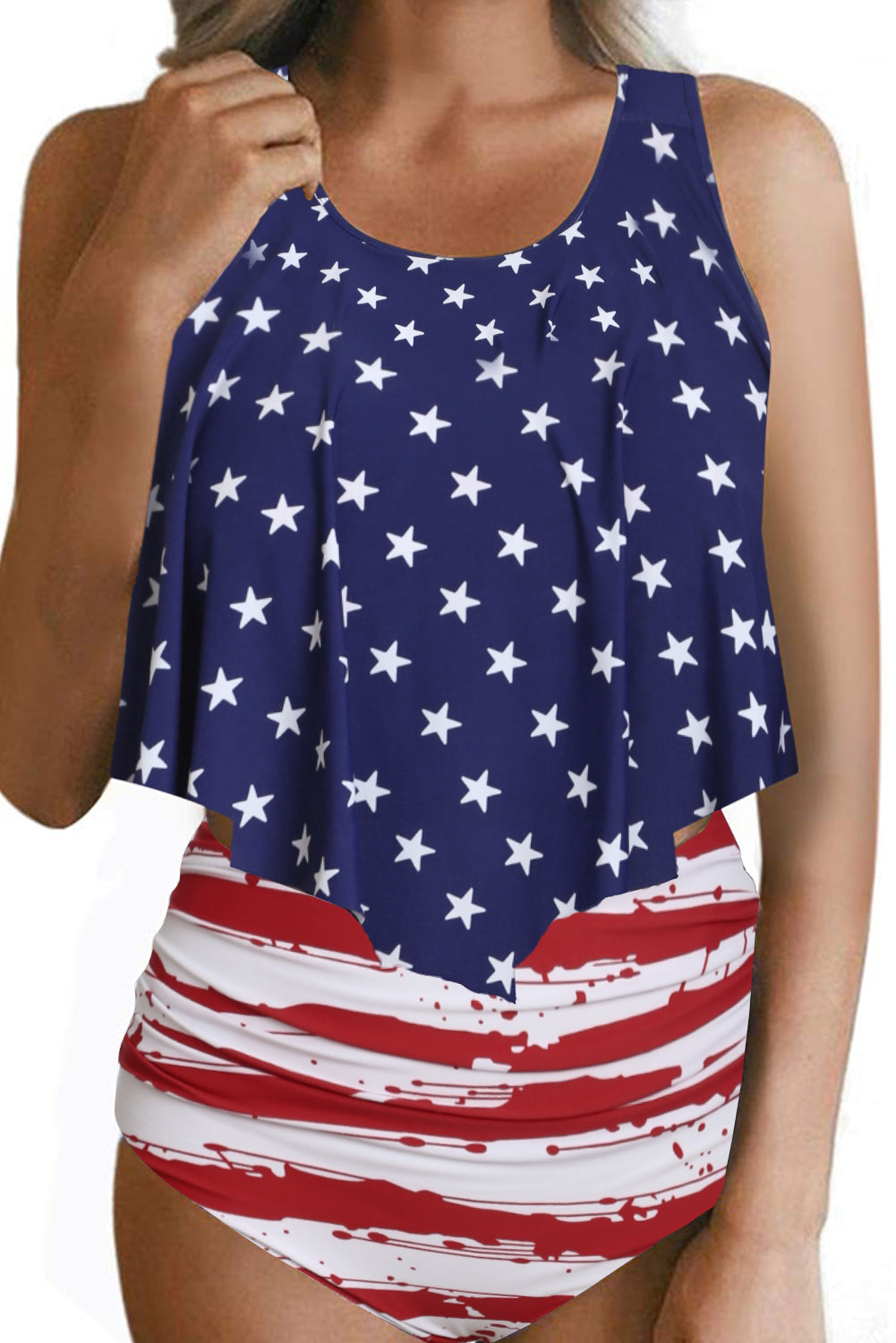 Patriotic Print Crop Ruffled Overlay High Waist Tankini