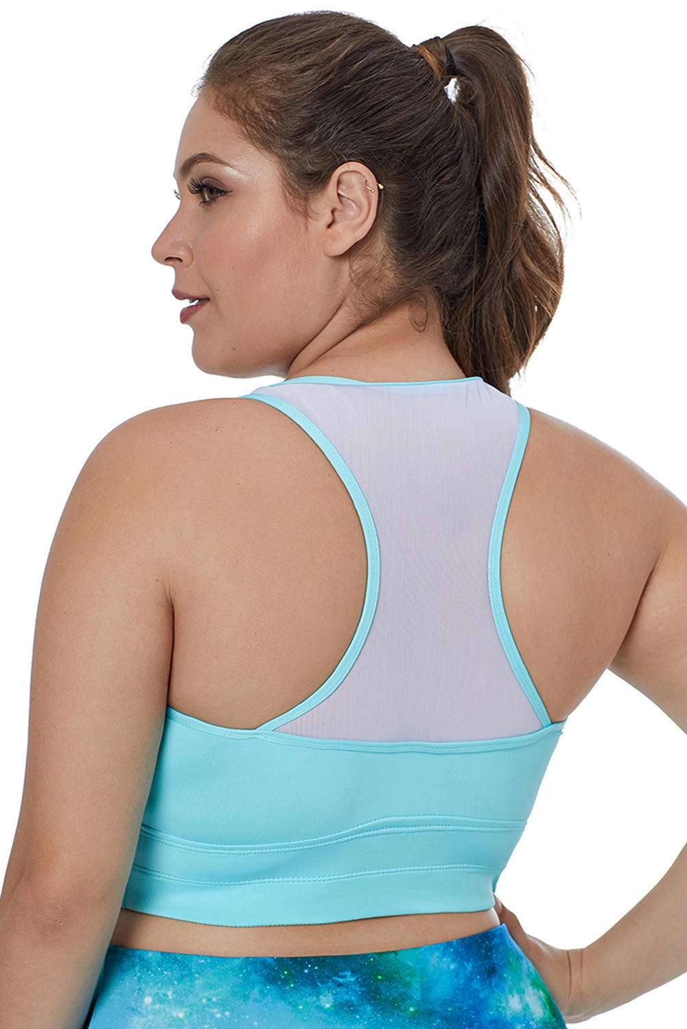 Light Blue Sleeveless Racerback Plus Size Yoga Bra