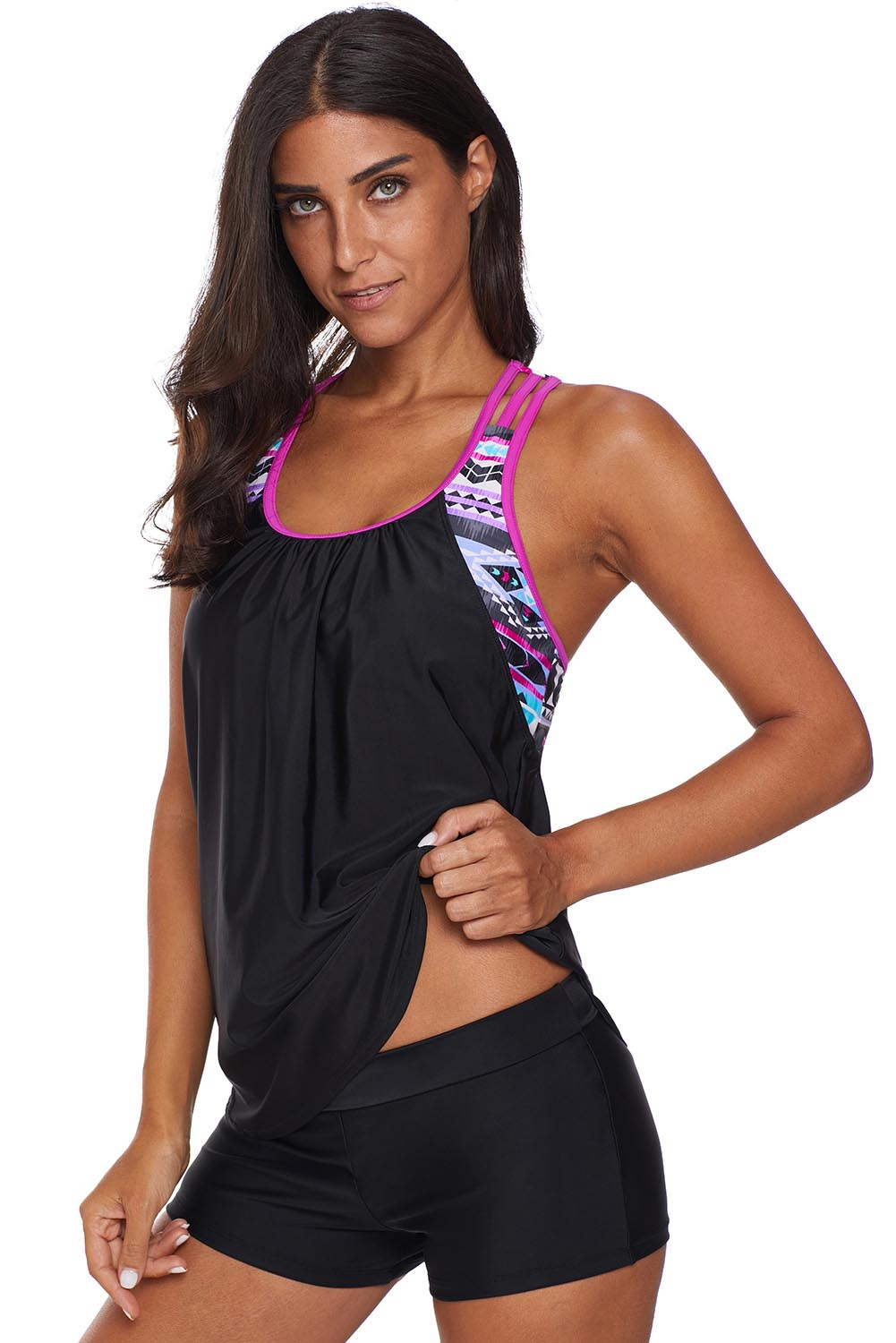 Rose Blouson Striped Printed Strappy T-Back Push up Tankini Top