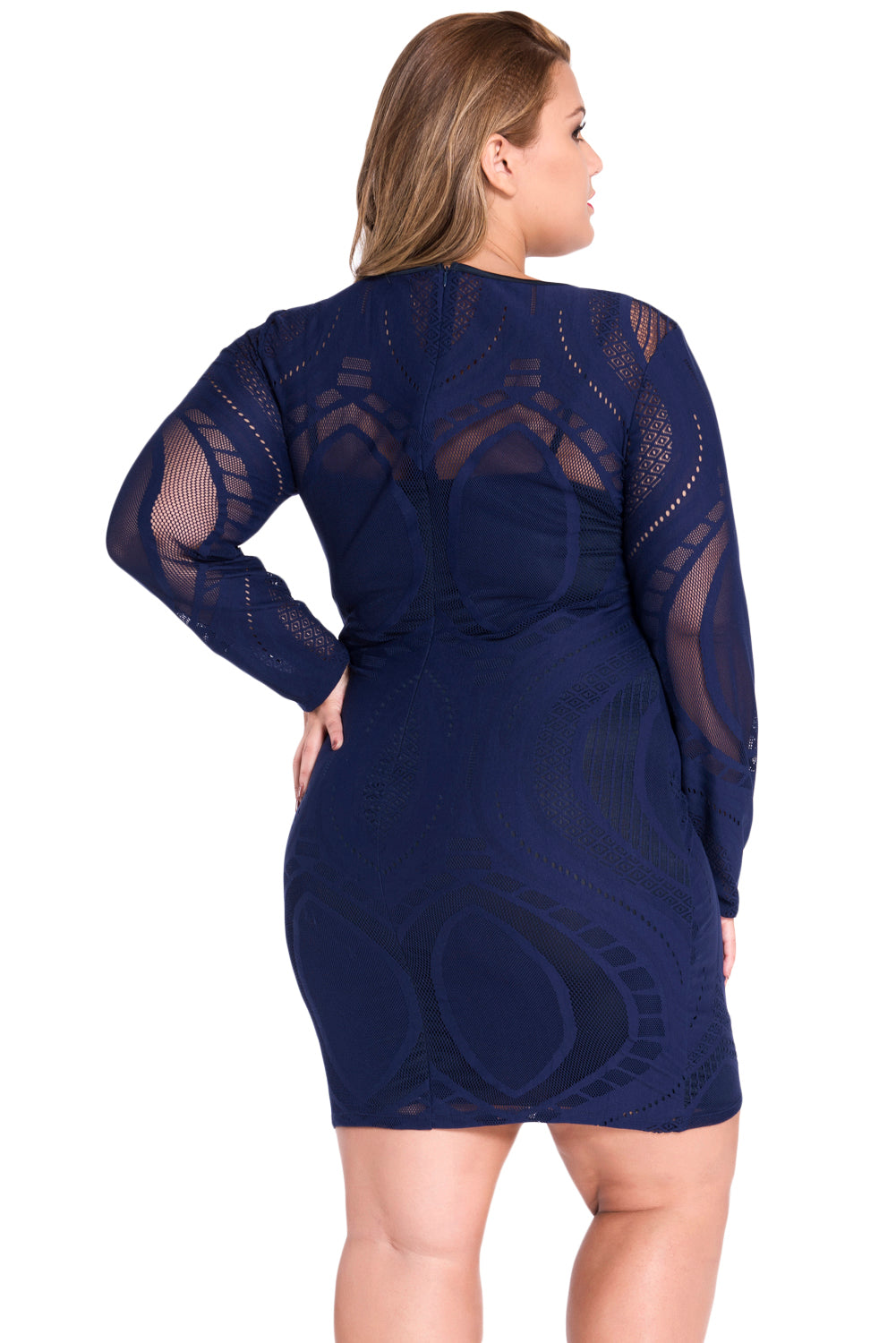 Royal Blue Lace Nude Illusion Long Sleeves Bodycon Dress