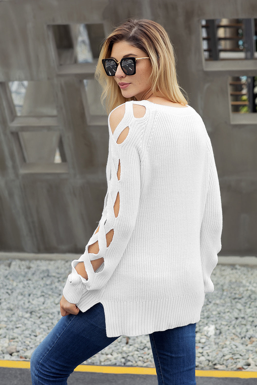 White Cutout Detail Ribbed Knit Sweater