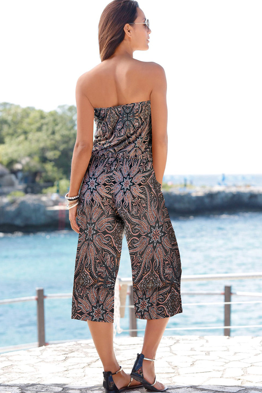 Brown Flower Print Bandeau Bodice Wide Leg Jumpsuit