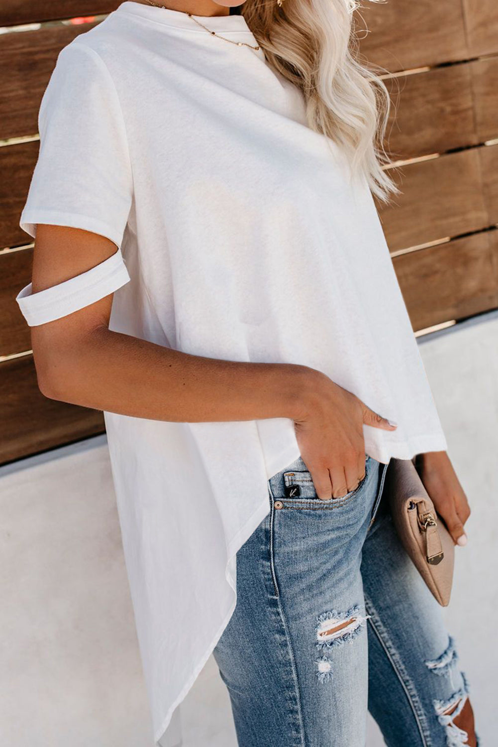 White Defying Gravity High Low Knit Top
