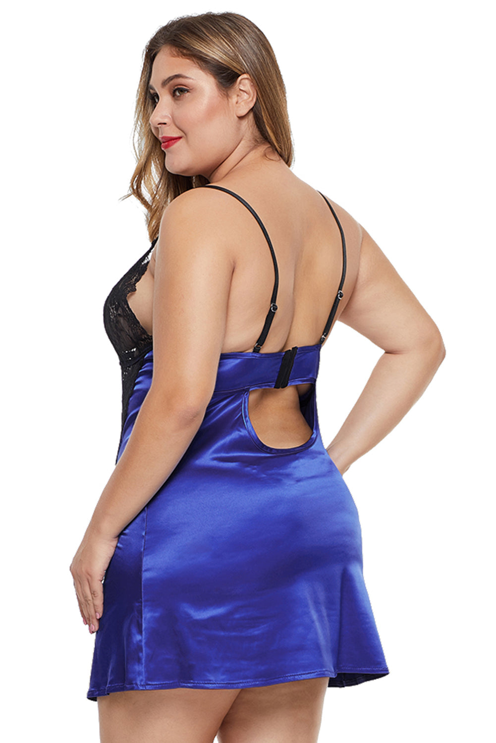 Blue Coloblock Lace Cup Hollow-out Plus Size Babydoll