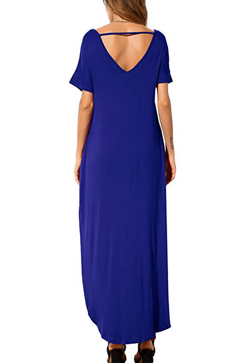 Blue Lace Front Pocket Short Sleeve Split Casual Loose Maxi Dress