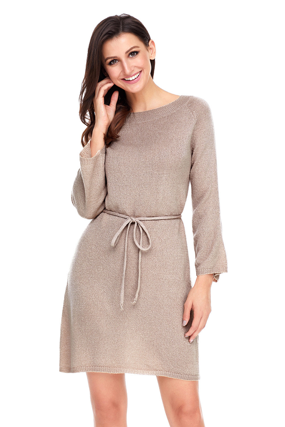 Khaki Off The Shoulder Knit Sweater Dress