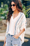 Orange V Neck Stripes Roll up Sleeve Button Down Shirt