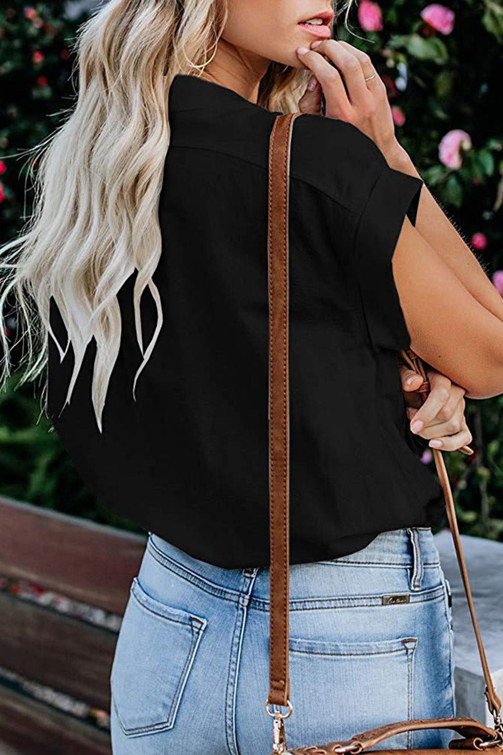 Black Button Down Pocket Cap Sleeve Shirt